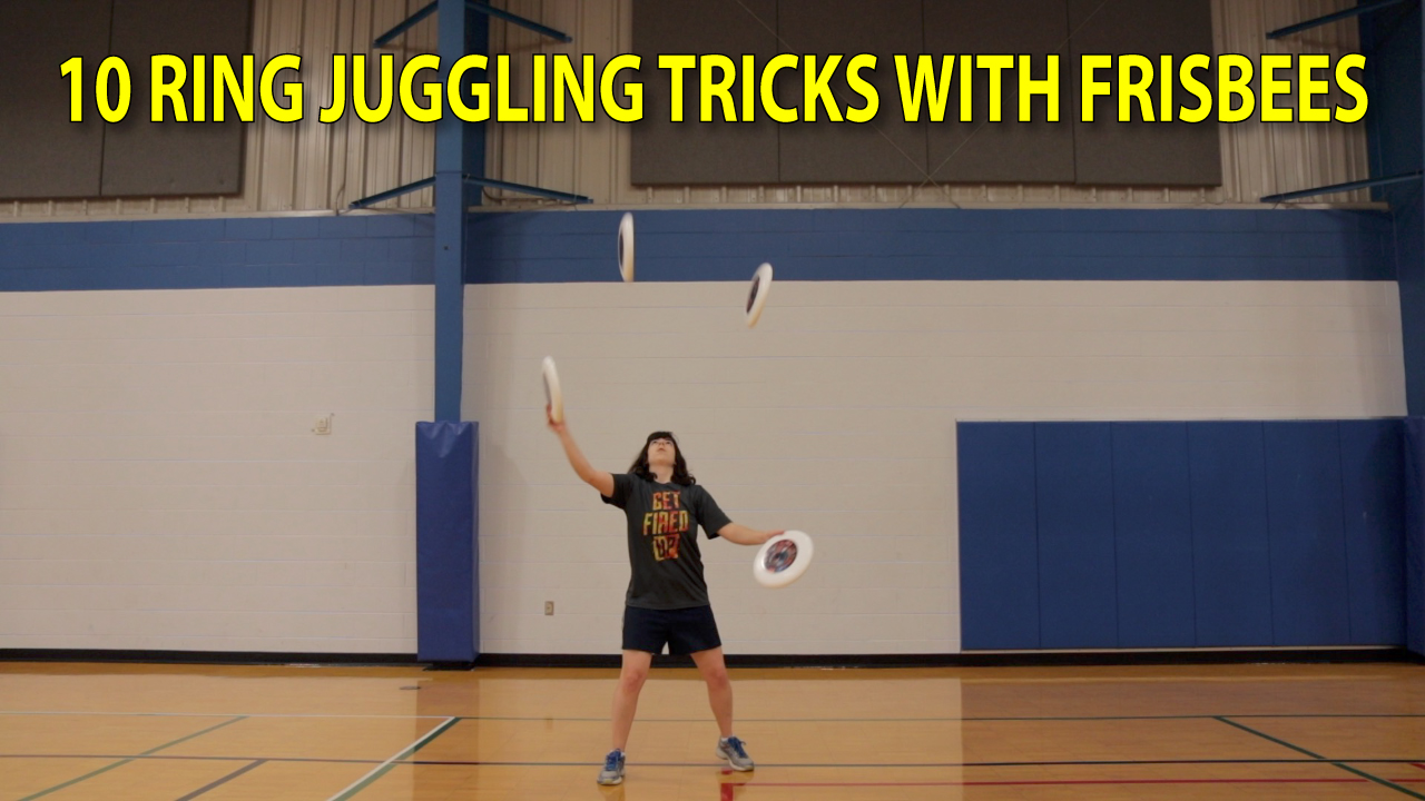 learning 10 ring juggling tricks with frisbees thumbnail
